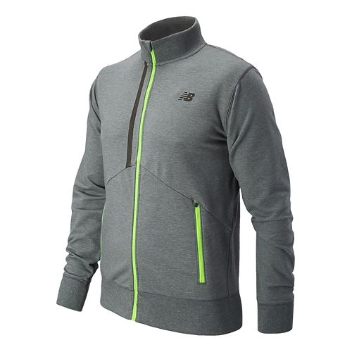 Mens New Balance Edge Warm Up Hooded Jackets - Lead Heather XL