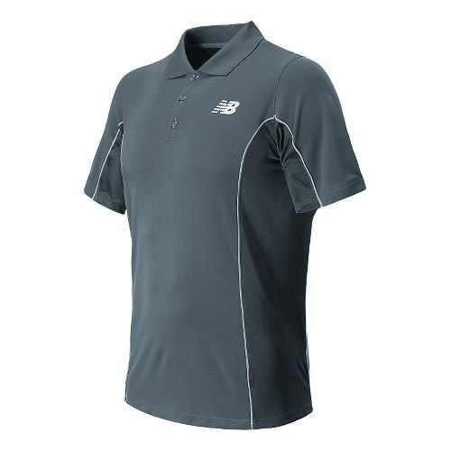 Mens New Balance Baseline Travel Polo Short Sleeve Technical Top - Lead S
