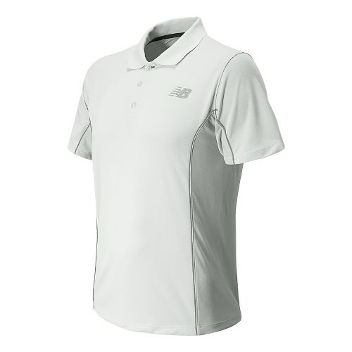 Mens New Balance Baseline Travel Polo Short Sleeve Technical Top - White XL
