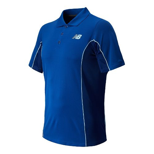 Mens New Balance Baseline Travel Polo Short Sleeve Technical Top - Optic Blue L