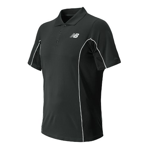 Mens New Balance Baseline Travel Polo Short Sleeve Technical Top - Black L