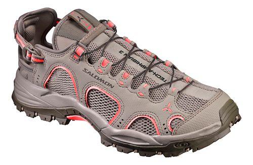 Womens Salomon Techamphibian 3 Hiking Shoe - Khaki/Coral 10