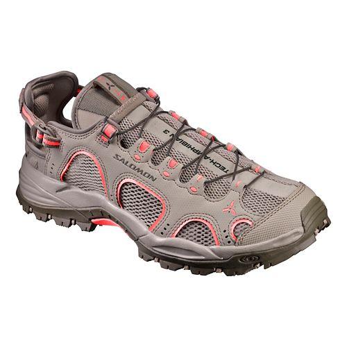 Womens Salomon Techamphibian 3 Hiking Shoe - Khaki/Coral 8.5