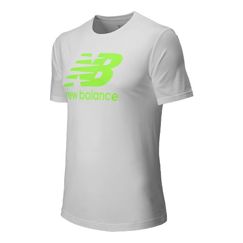 Mens New Balance Large Logo Graphic Tee Short Sleeve Technical Top - Chemical Green XL ...