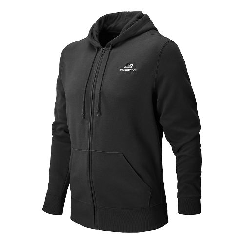 Mens New Balance Essentials Zip Up Warm Up Hooded Jackets - Heather Charcoal S