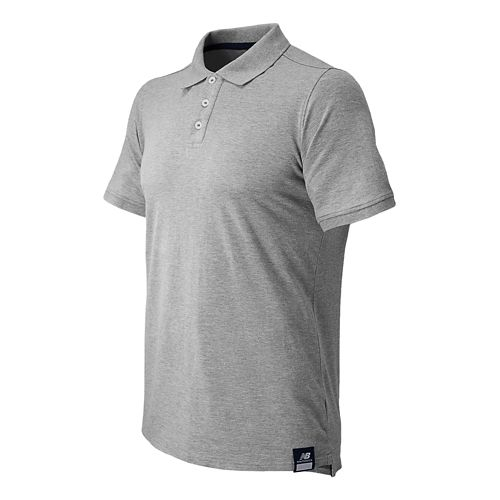 Mens New Balance Essential Polo Short Sleeve Technical Top - Athletic Grey L