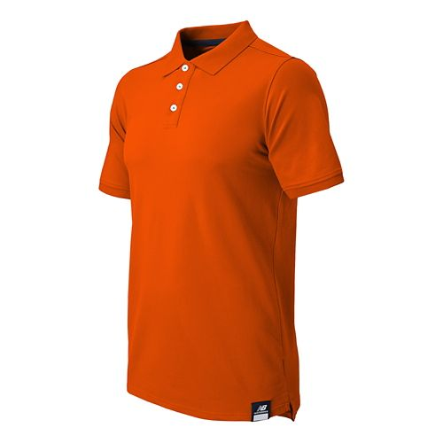Mens New Balance Essential Polo Short Sleeve Technical Top - Orange Burst L