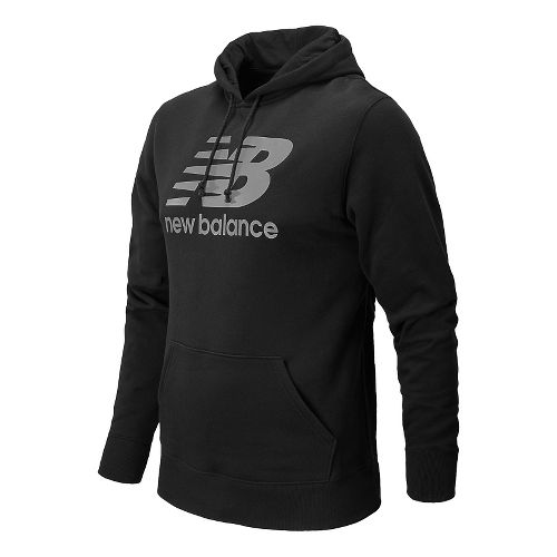Mens New Balance Essentials Pullover Warm Up Hooded Jackets - Heather Charcoal L