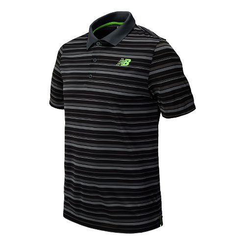 Mens New Balance Tournament Striped Polo Short Sleeve Technical Top - Anthracite XL