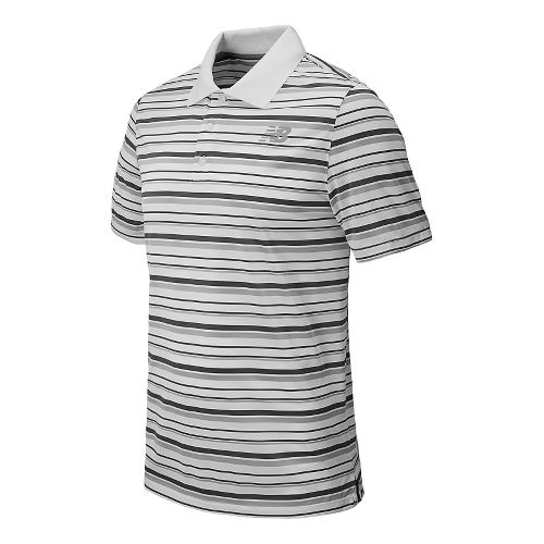 Mens New Balance Tournament Striped Polo Short Sleeve Technical Top - White XL
