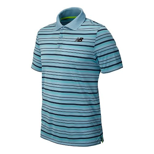 Mens New Balance Tournament Striped Polo Short Sleeve Technical Top - Crystal M