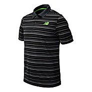 Mens New Balance Tournament Striped Polo Short Sleeve Technical Top