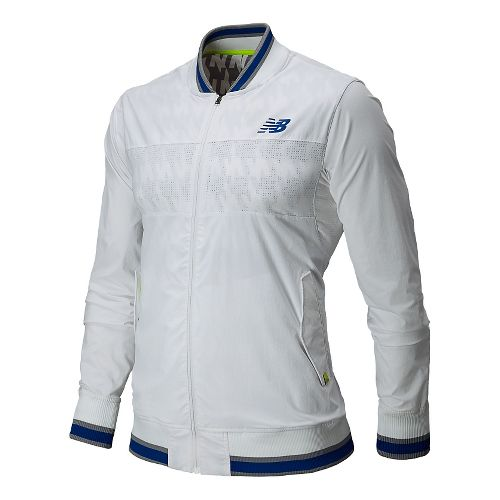 Mens New Balance Tournament Warm Up Warm Up Hooded Jackets - White XL