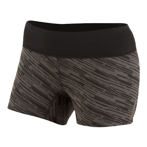 Womens Pearl Izumi Flash Tight Print Shorts - Black/Shadow Grey XS