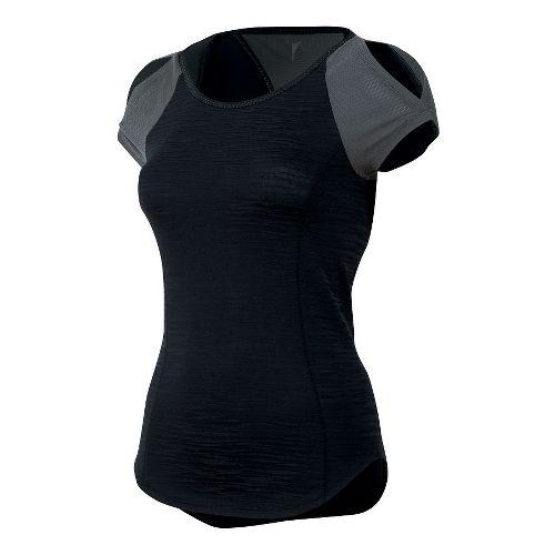 Womens Pearl Izumi Flash Short Sleeve Technical Tops - Black/Shadow Grey L