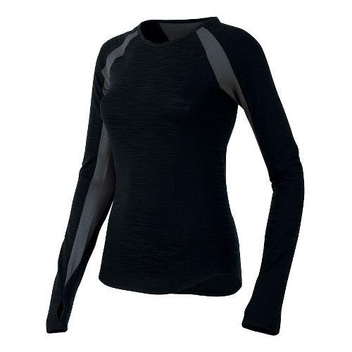 Womens Pearl Izumi Flash Long Sleeve No Zip Technical Tops - Black/Shadow Grey M