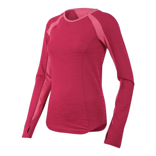 Womens Pearl Izumi Flash Long Sleeve No Zip Technical Tops - Cerise/Honeysuckle M