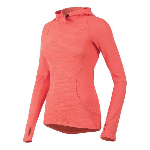 Womens Pearl Izumi Flash Long Sleeve Hooded Technical Tops - Living Coral/Red M