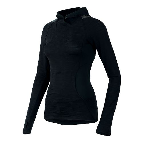 Womens Pearl Izumi Flash Long Sleeve Hooded Technical Tops - Black/Shadow Grey XS