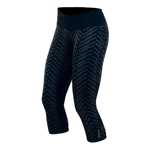 Womens Pearl Izumi Flash 3/4 Print Capri Tights - Black Print XS