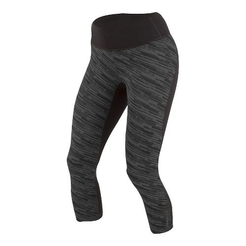 Womens Pearl Izumi Flash 3/4 Print Capris Tights - Black/Shadow Print XS