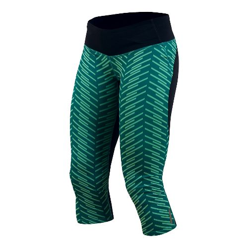 Womens Pearl Izumi Flash 3/4 Print Capri Tights - Deep Lake Print XL