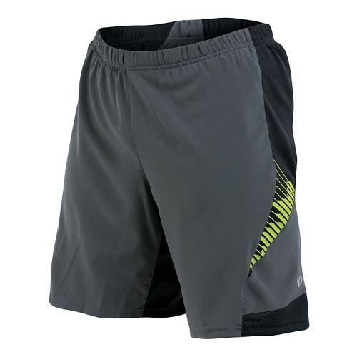 Mens Pearl Izumi Flash 2 in 1 Shorts - Shadow Grey/Lime M