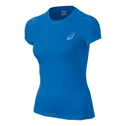 Womens ASICS Stripe Short Sleeve Technical Tops - Jeans L