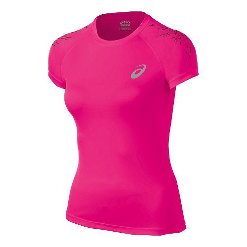 Womens ASICS Stripe Short Sleeve Technical Tops - Ultra Pink L