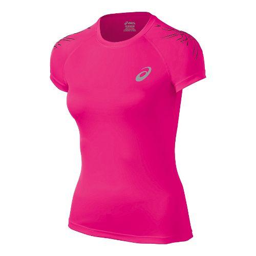 Womens ASICS Stripe Short Sleeve Technical Tops - Ultra Pink XL