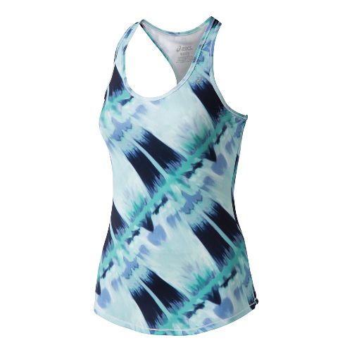 Womens ASICS Emma Racerback Tank Technical Tops - Mint Abstract Print XS