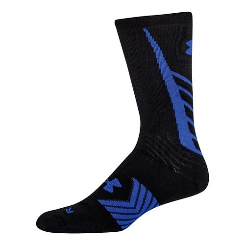 Mens Under Armour Undeniable Crew Socks - Black/Royal L
