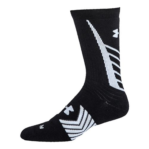 Mens Under Armour Undeniable Crew Socks - Black/White L