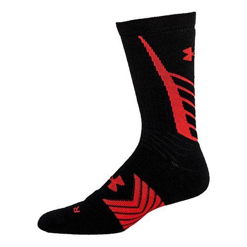 Mens Under Armour Undeniable Crew Socks - Black/Red L