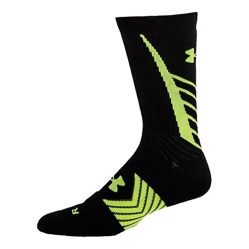 Mens Under Armour Undeniable Crew Socks - Black/Hi Vis Yellow L
