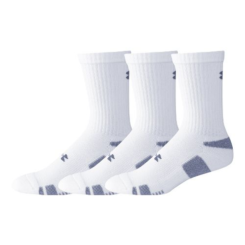Mens Under Armour Heatgear Crew 3 pack Socks - White L