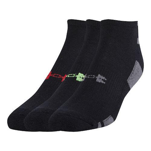 Mens Under Armour Heatgear No Show 3 pack Socks - Black Assorted L