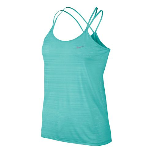 Womens Nike DF Cool Breeze Strappy Tanks Technical Tops - Light Aqua XS