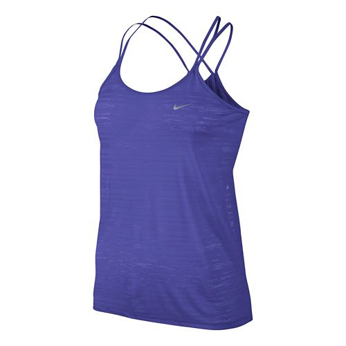 Womens Nike DF Cool Breeze Strappy Tanks Technical Tops - Persian Violet L