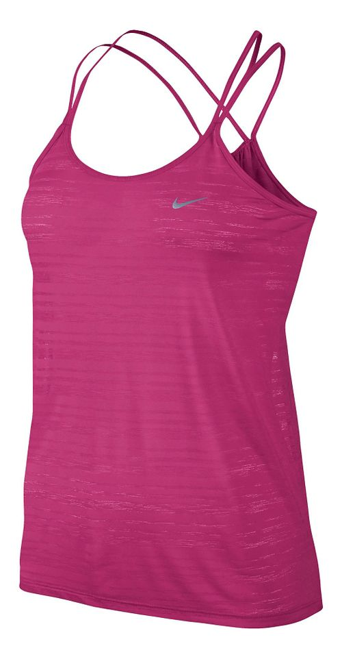 Womens Nike DF Cool Breeze Strappy Tanks Technical Tops - Vivid Pink XL