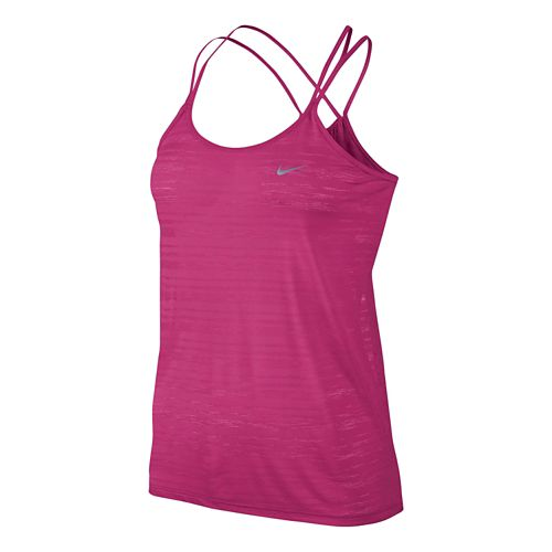 Womens Nike DF Cool Breeze Strappy Tanks Technical Tops - Vivid Pink L