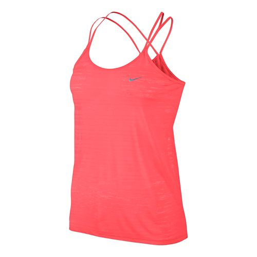 Womens Nike DF Cool Breeze Strappy Tanks Technical Tops - Hot Lava L
