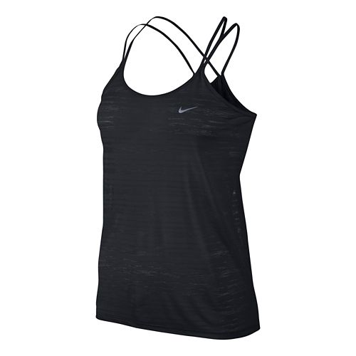 Womens Nike DF Cool Breeze Strappy Tanks Technical Tops - Black L