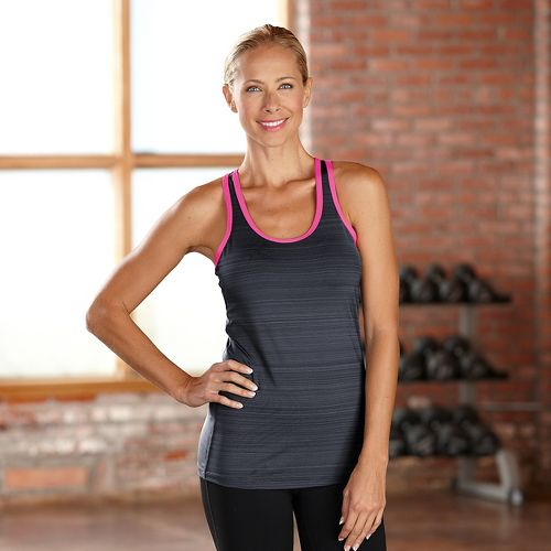 Womens R-Gear Urban Appeal Racerback Tanks Technical Tops - Heather Charcoal/Pink Pop L