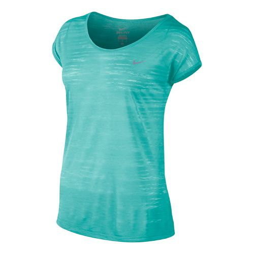 Womens Nike DF Cool Breeze Short Sleeve Technical Tops - Light Aqua M