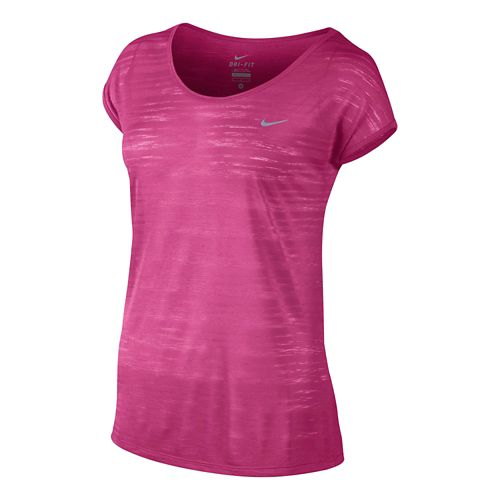 Womens Nike DF Cool Breeze Short Sleeve Technical Tops - Vivid Pink M