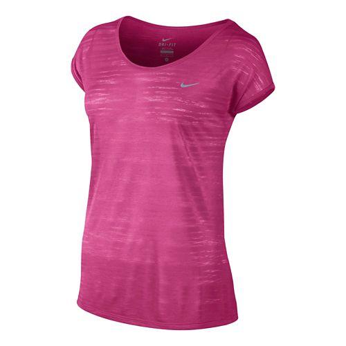 Womens Nike DF Cool Breeze Short Sleeve Technical Tops - Vivid Pink XL