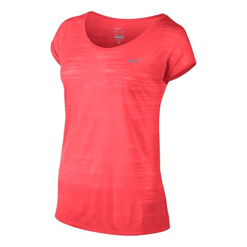 Womens Nike DF Cool Breeze Short Sleeve Technical Tops - Hot Lava S