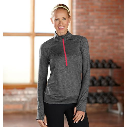 Womens R-Gear Set The Stage Striped Long Sleeve 1/2 Zip Technical Tops - Charcoal M ...