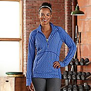 Womens R-Gear Set The Stage Striped Long Sleeve 1/2 Zip Technical Tops - Sapphire S